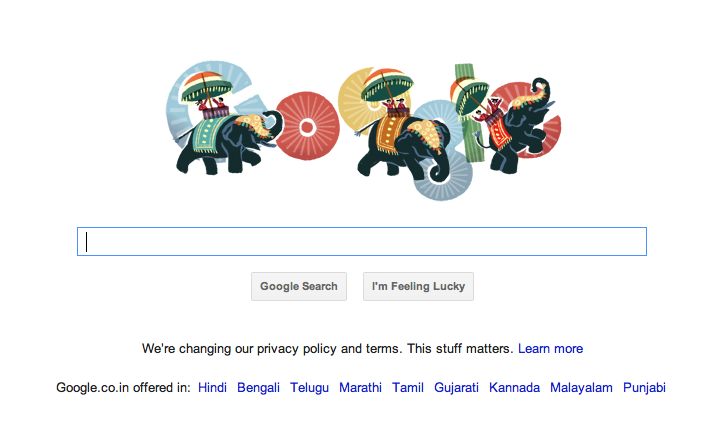 Google Doodle Republic day of India 26-Jan-2012