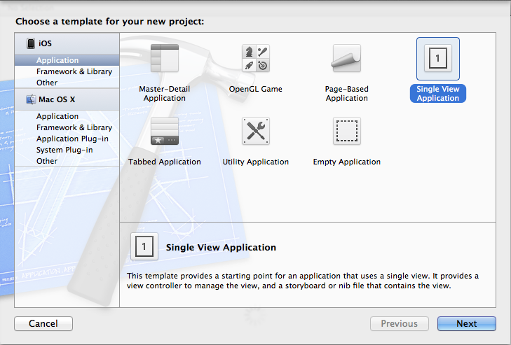 Create new Xcode Project, Single View