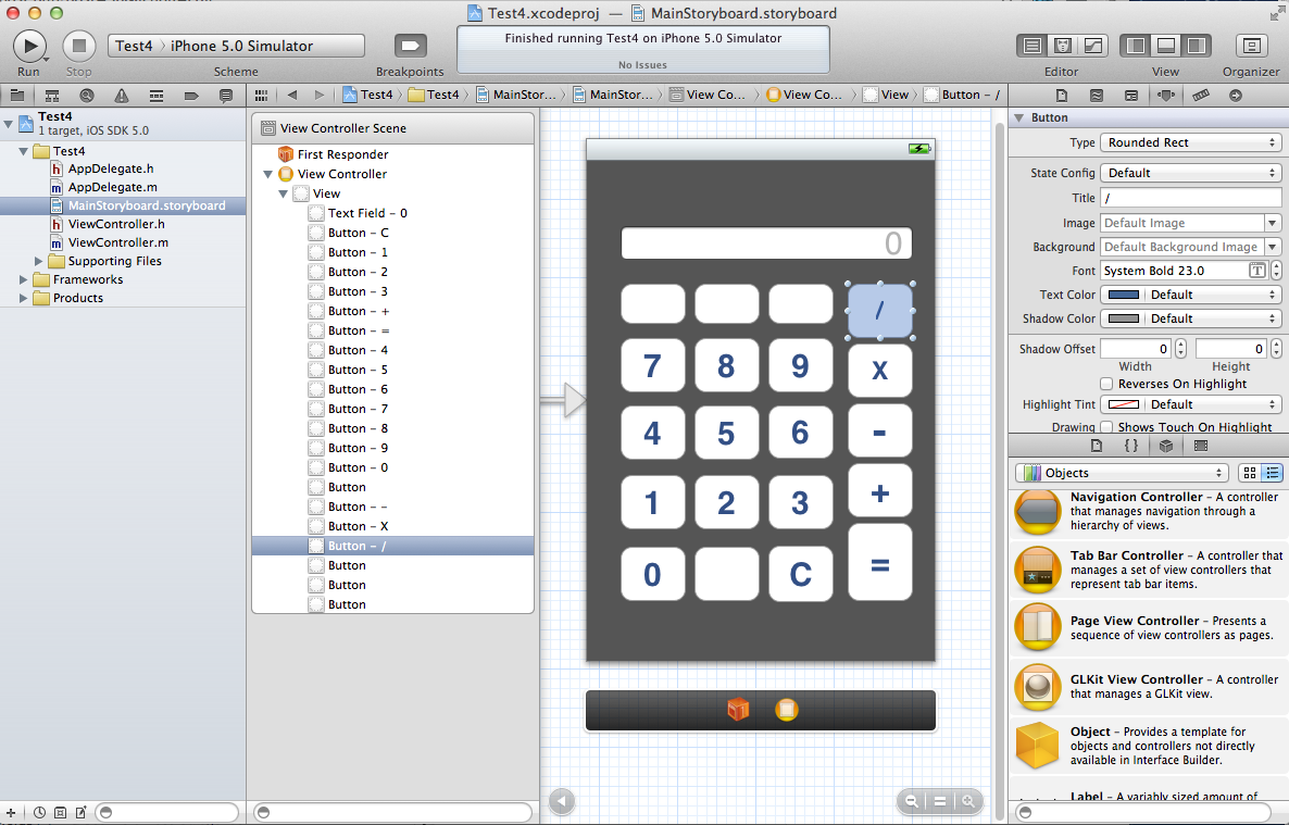 Calculator design in Xcode Storyboard