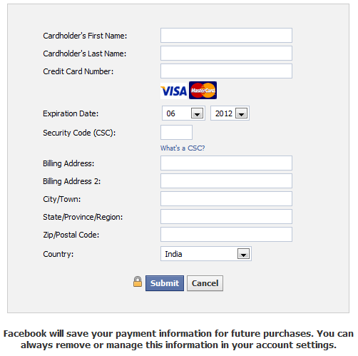 Facebook purchase credit card