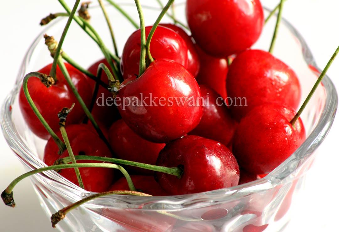 Red Cherries Closeup, Macro Photography