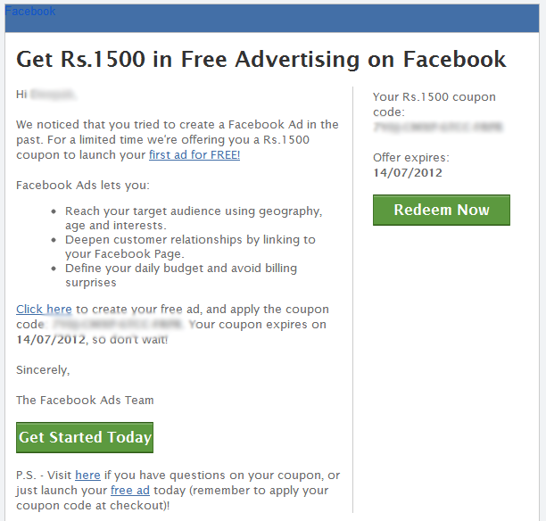 facebook coupon