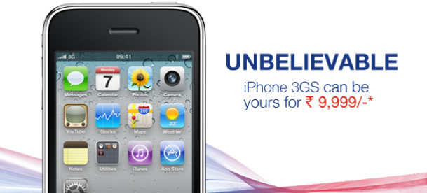 Aircel iPhone 3GS  for Rs. 9999 only