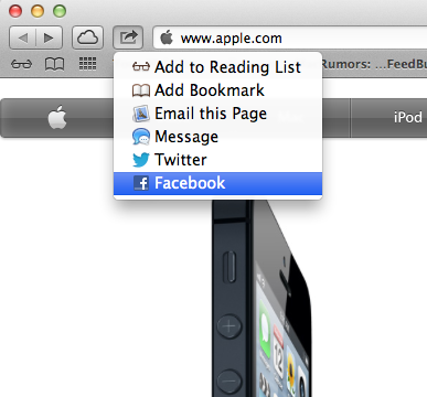 Share Options in Safari