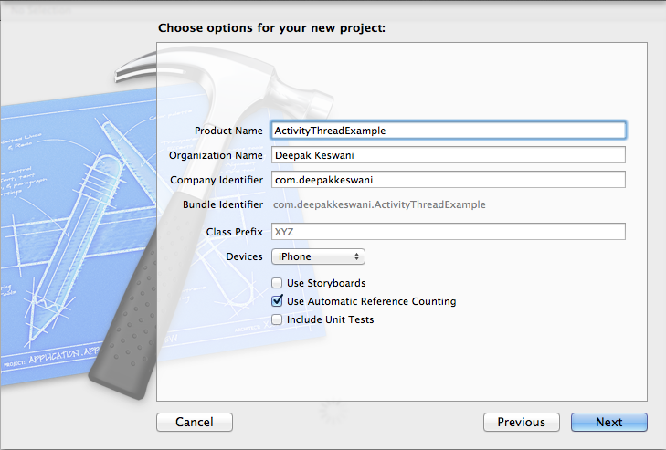 New Single View App Project in Xcode