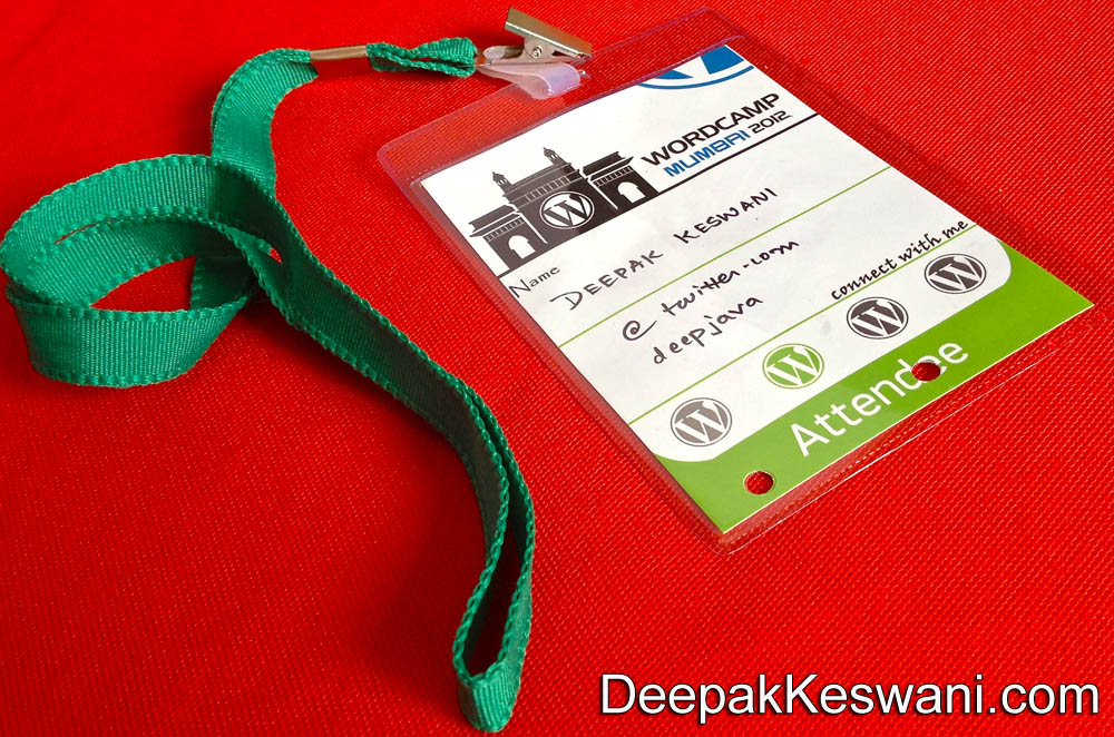 WordCamp 2012 Mumbai Attendee Card