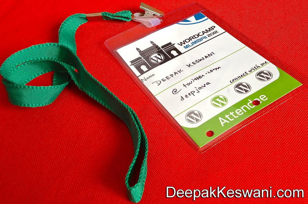 WordCamp 2012 Mumbai Attendee Card