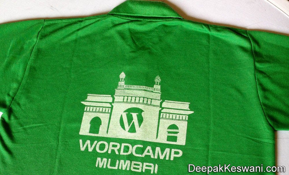 WordCamp2012 Mumbai Green T Shirt Back