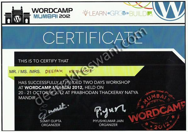 WordCamp Mumbai 2012 Attedance Certificate