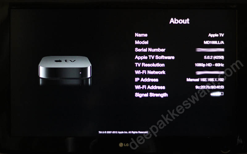 Apple TV About Menu option