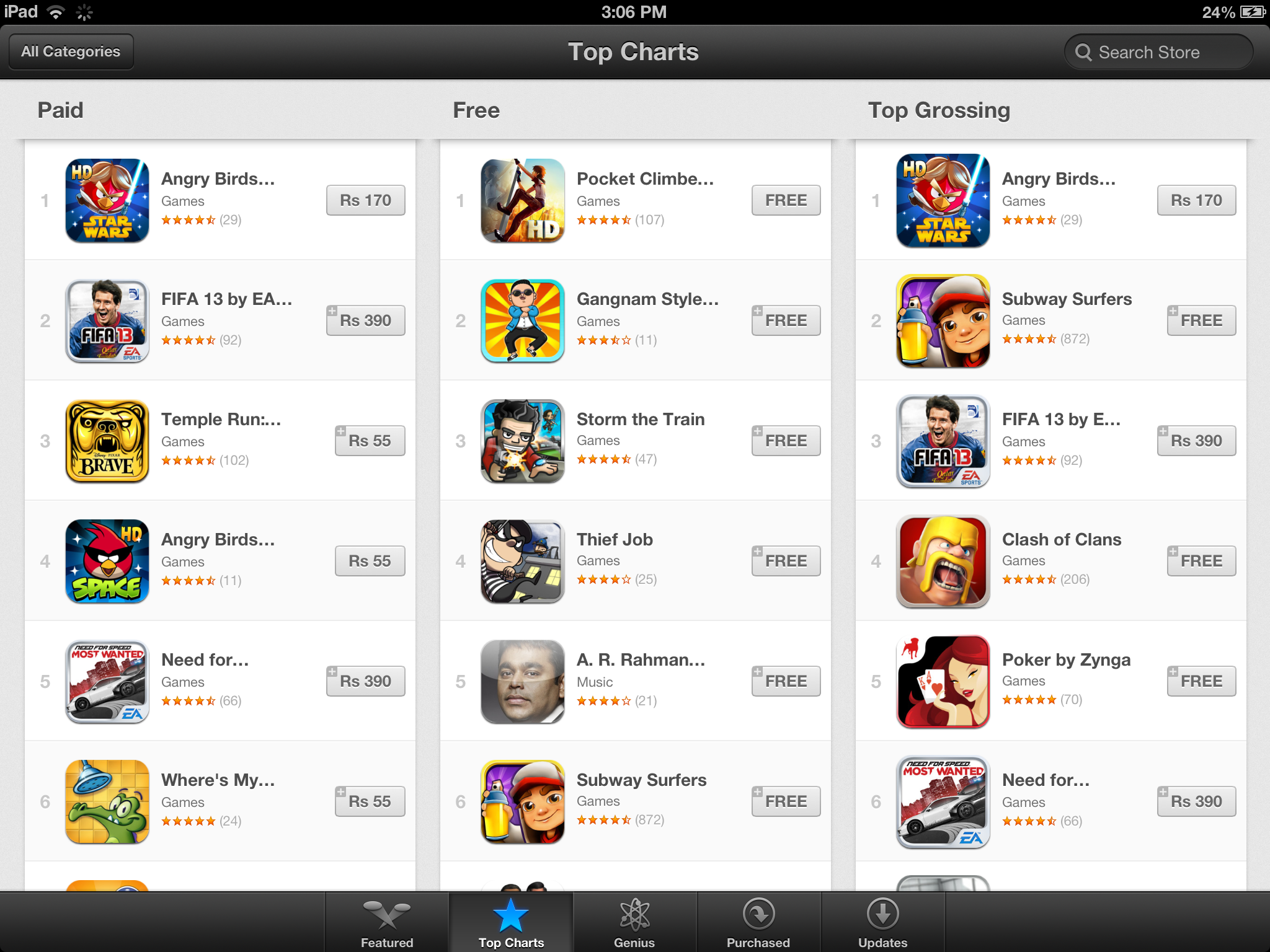 iPad ios Apps in Indian Rupees Currency