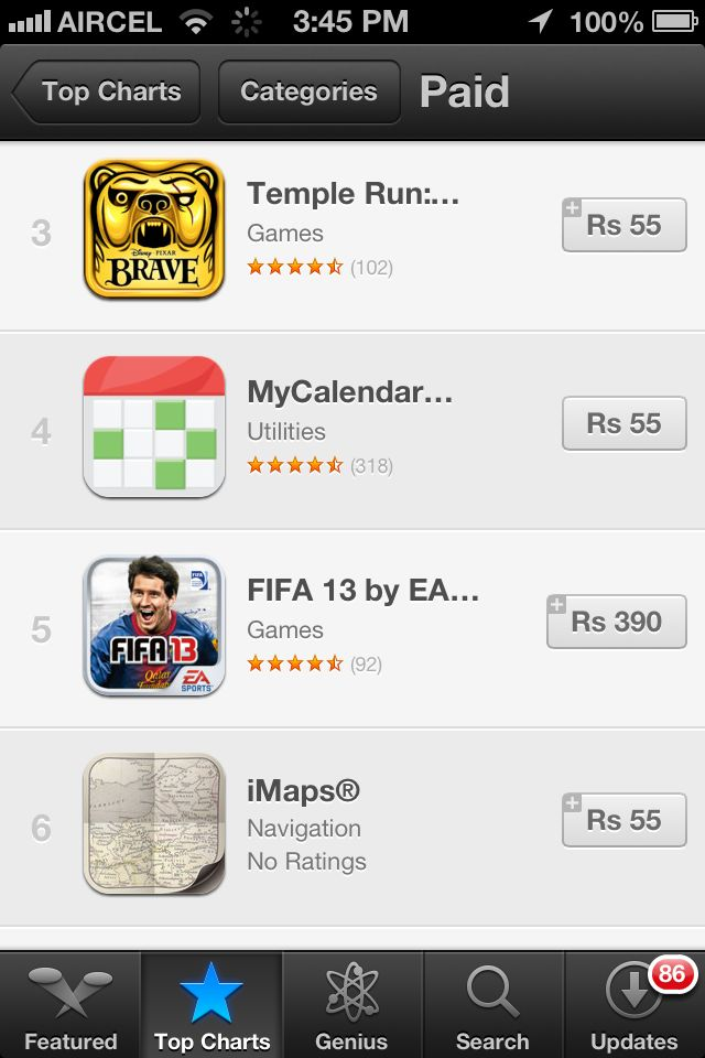 iPhone Paid apps in Indian Rupees