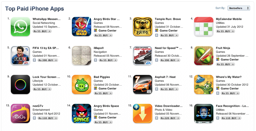 iTunes iOS Apps in Indian Rupees