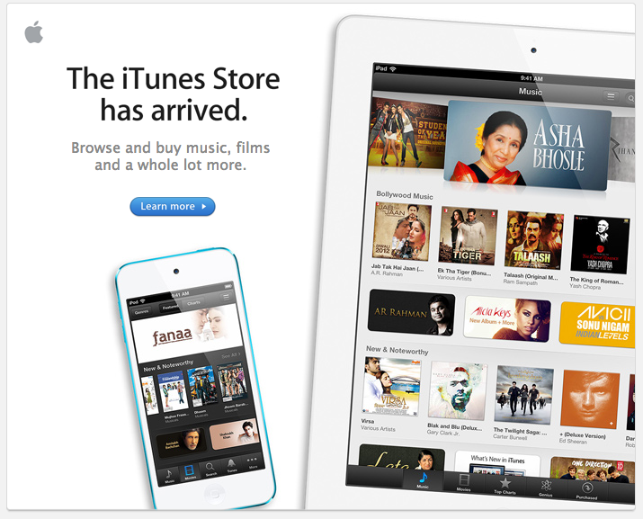 Apple iTunes Store has arrived to India