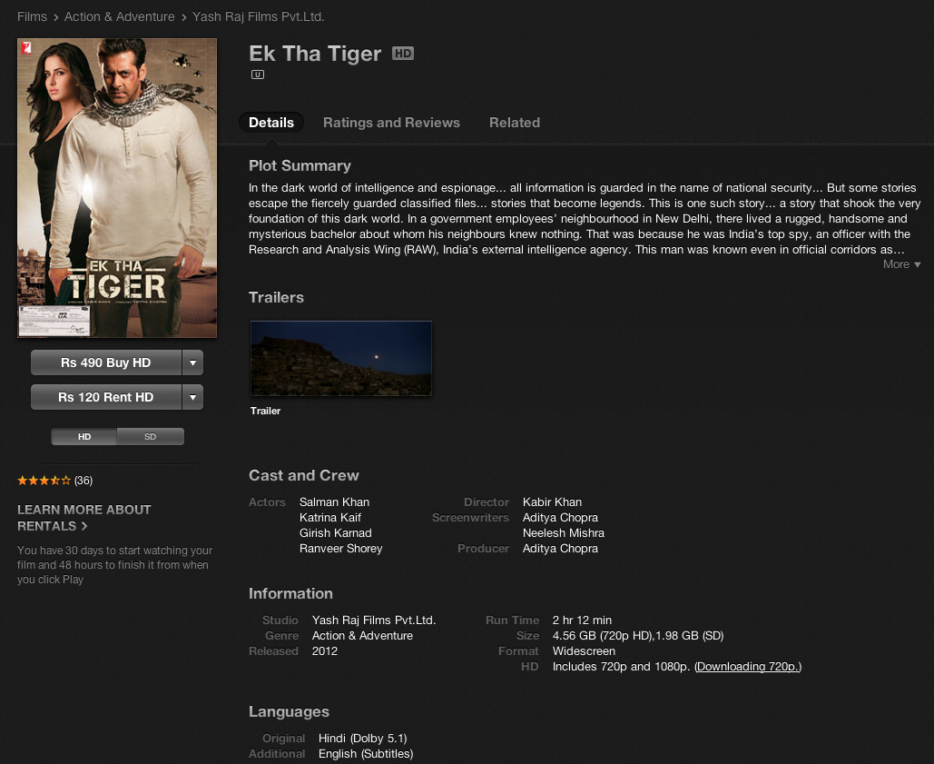 Ek Tha Tiger HD Movie