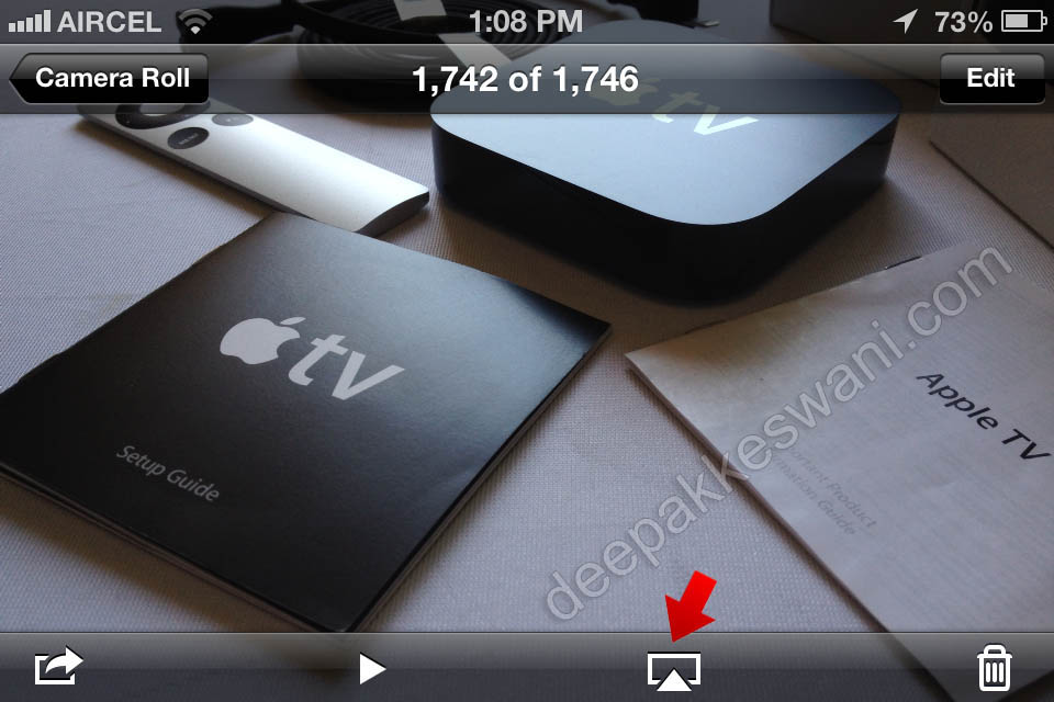 Apple TV AirPlay Button on iPhone