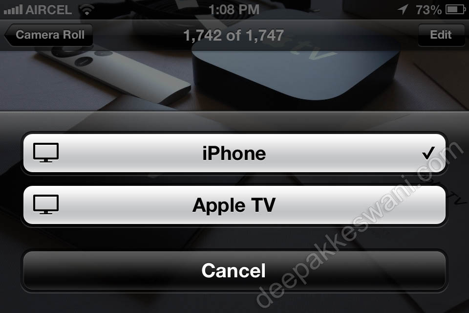 Apple TV AirPlay Button on iPhone with options