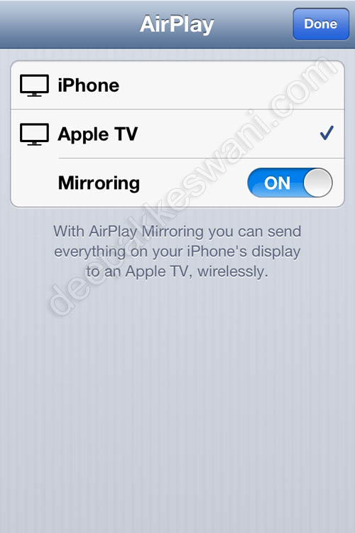Apple TV AirPlay Mirroring Button