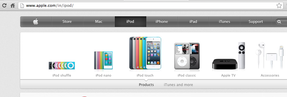 AppleTV India in iPod Section