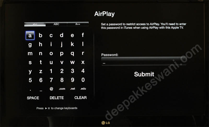 Apple TV Airplay Password