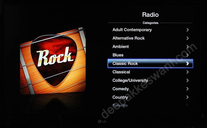 Apple TV Internet Radio Stations Categories