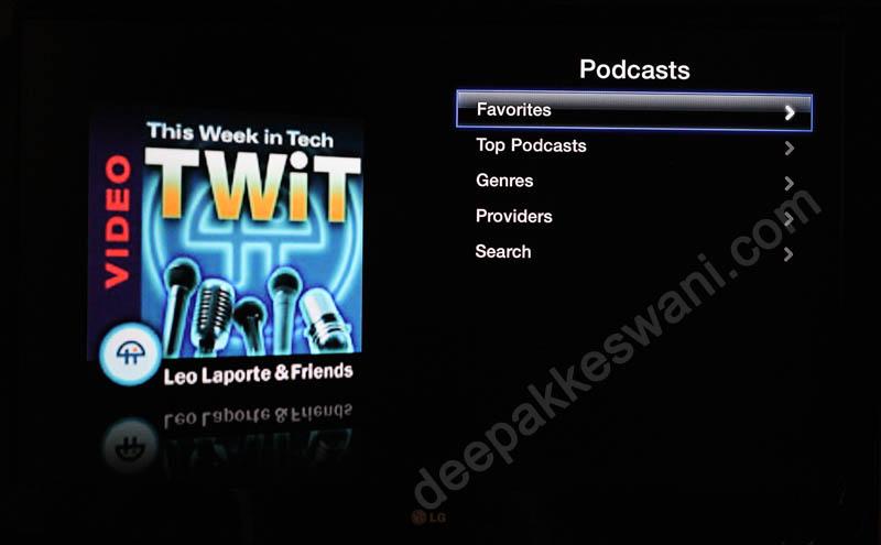 Apple TV Podcast Menu