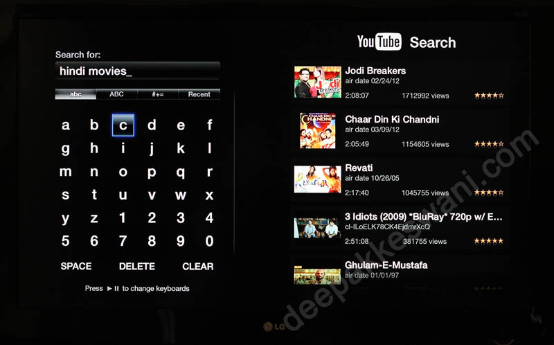 Apple TV YouTube Search Hindi movies