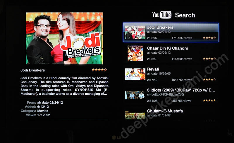 Apple TV YouTube Search Results