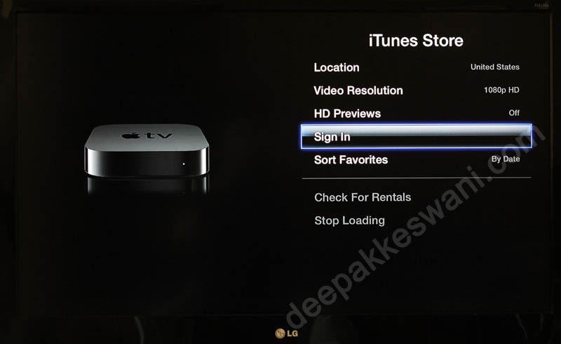 Apple TV iTunes Signin
