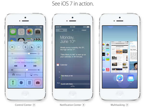 iOS 7 Control Center Notification Center Multitasking