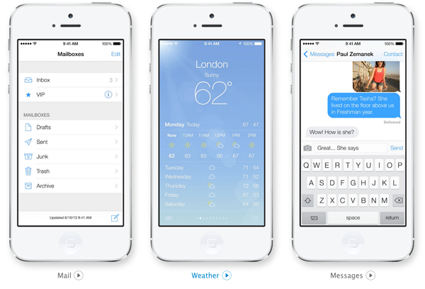 iOS 7 Mail, Weather Messages screenshots