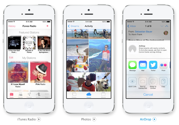 Apple iOS 7 iTunes Radio, Photos, AirDrop