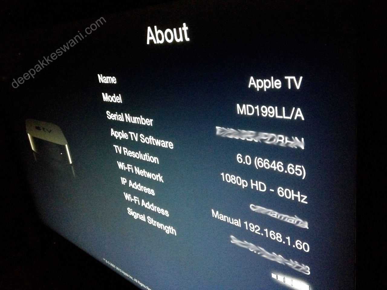Apple TV version 6 about page