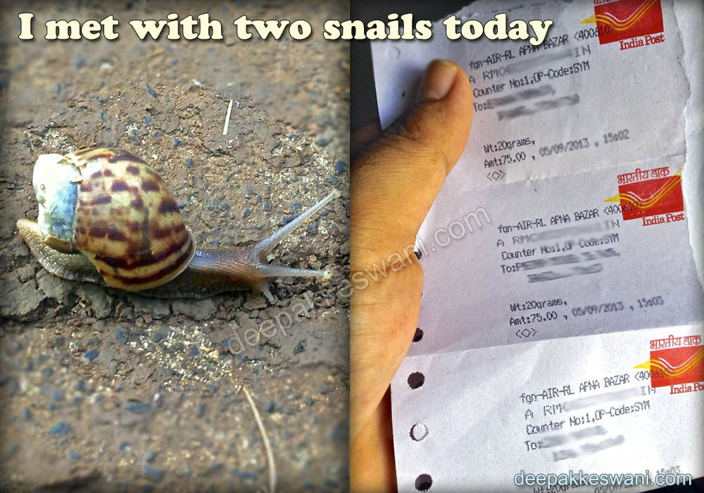 Two Snails, the real one and Indian Post Office