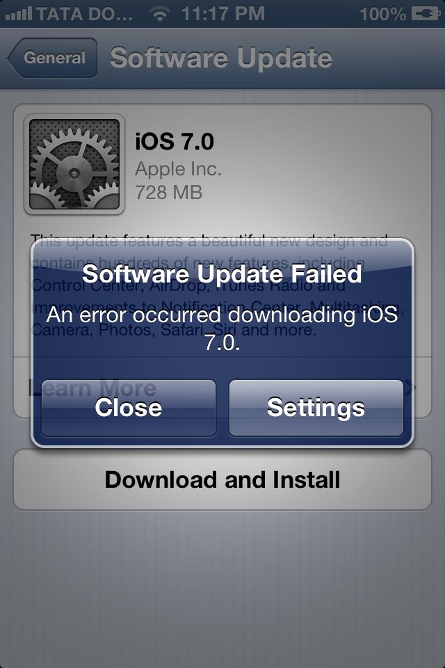 iOS7 Software Update Failed
