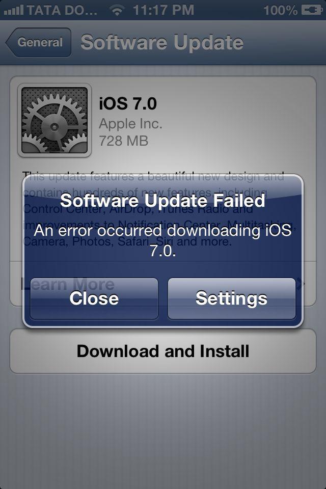 iOS7 Software Update Failed