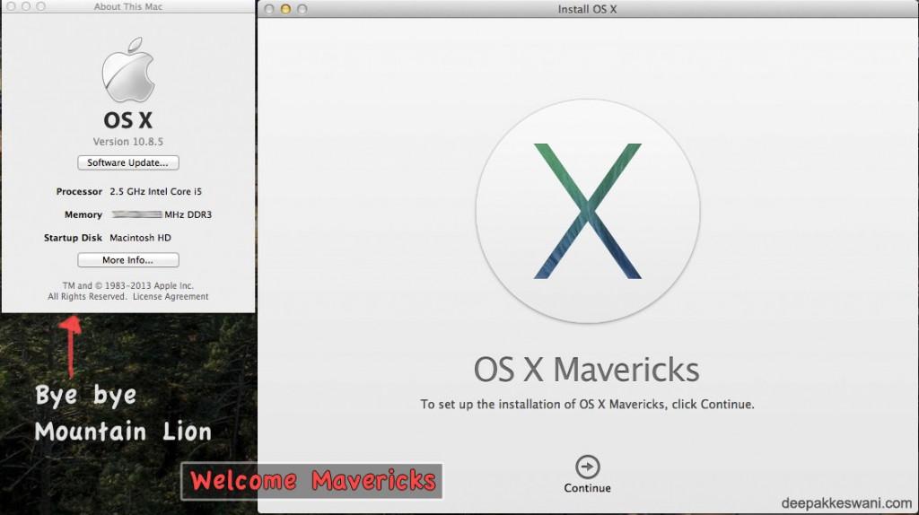 bye bye mountain lion, welcome Mavericks