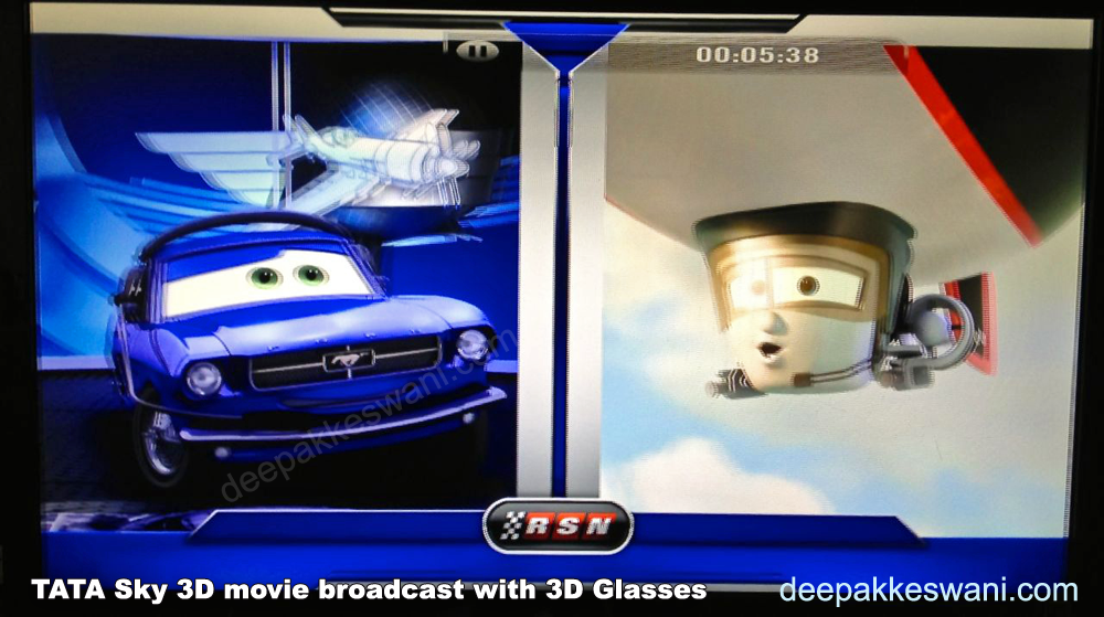 Tata Sky 3D broadcast on 3D TV without 3D Glasses will look blurred