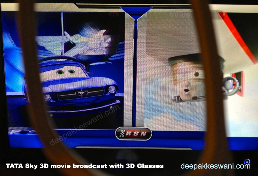 Tata Sky 3D boradcast on 3D TV with 3D Glasses trying to capture one eye movement