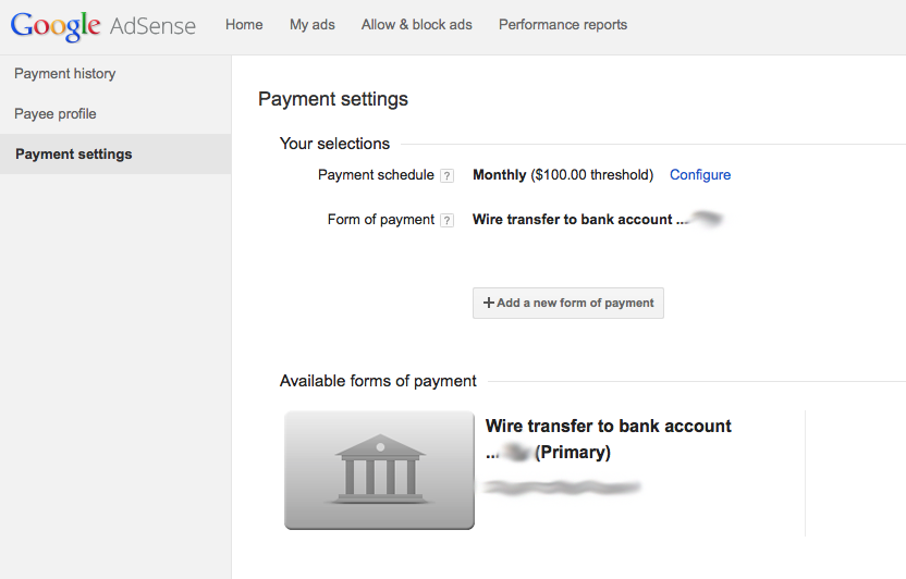 Google Adsense Electronic Fund Transfer