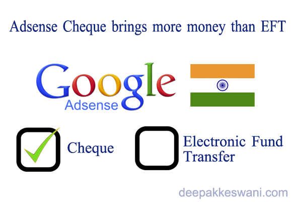 Google Adsense Cheques are better than EFT