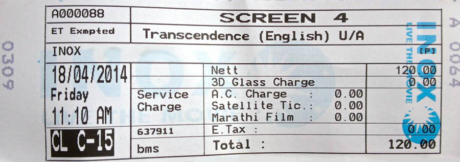 Transcendence Movie Ticket