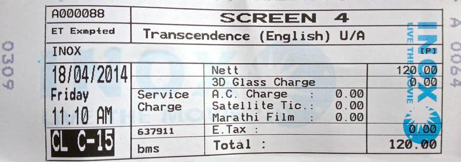 Transcendence Movie Ticket