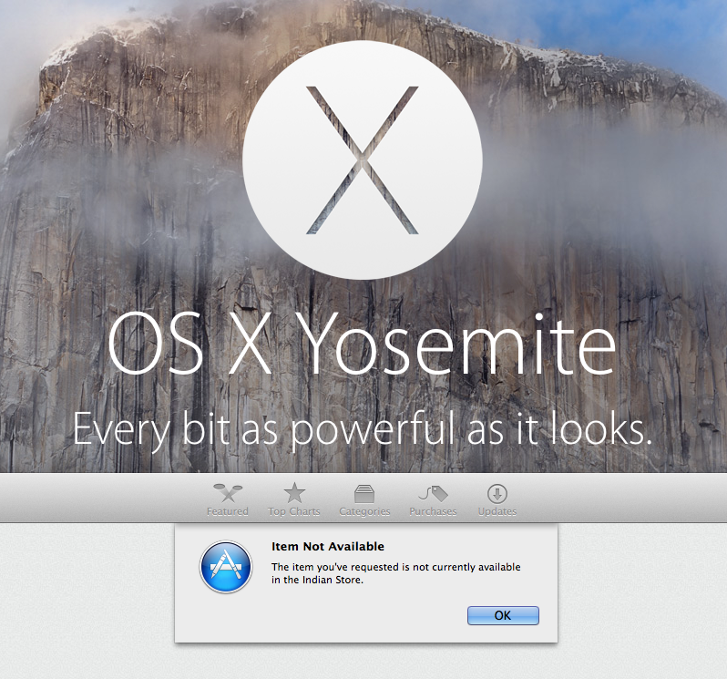 Apple Mac OS X Yosemite download not yet available in India