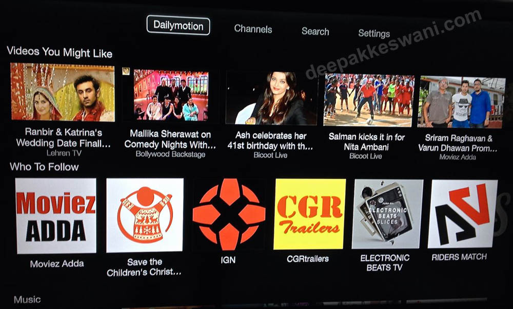 Apple TV India Dailymotion