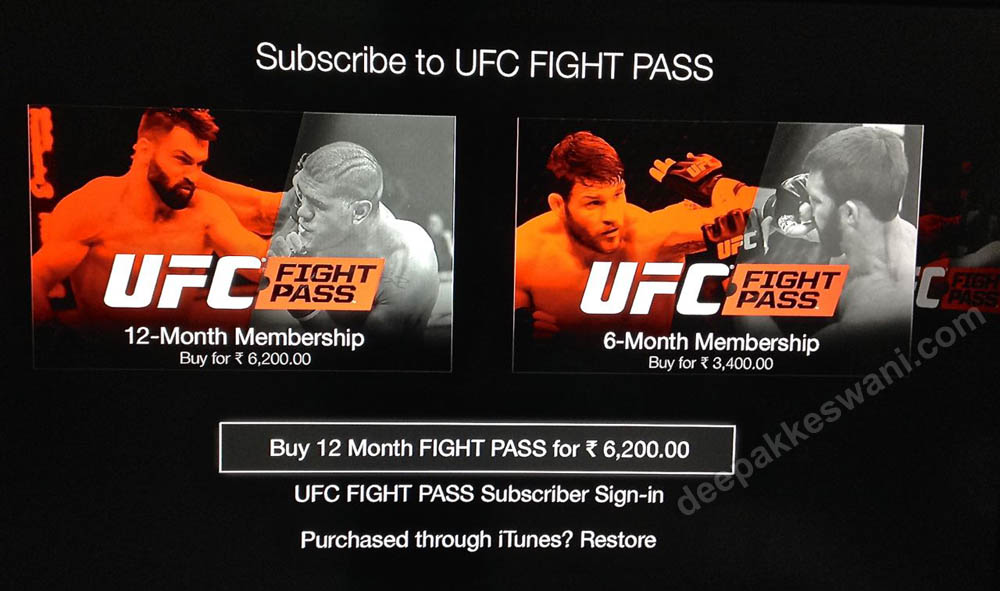 UFC Fight pass subscription india
