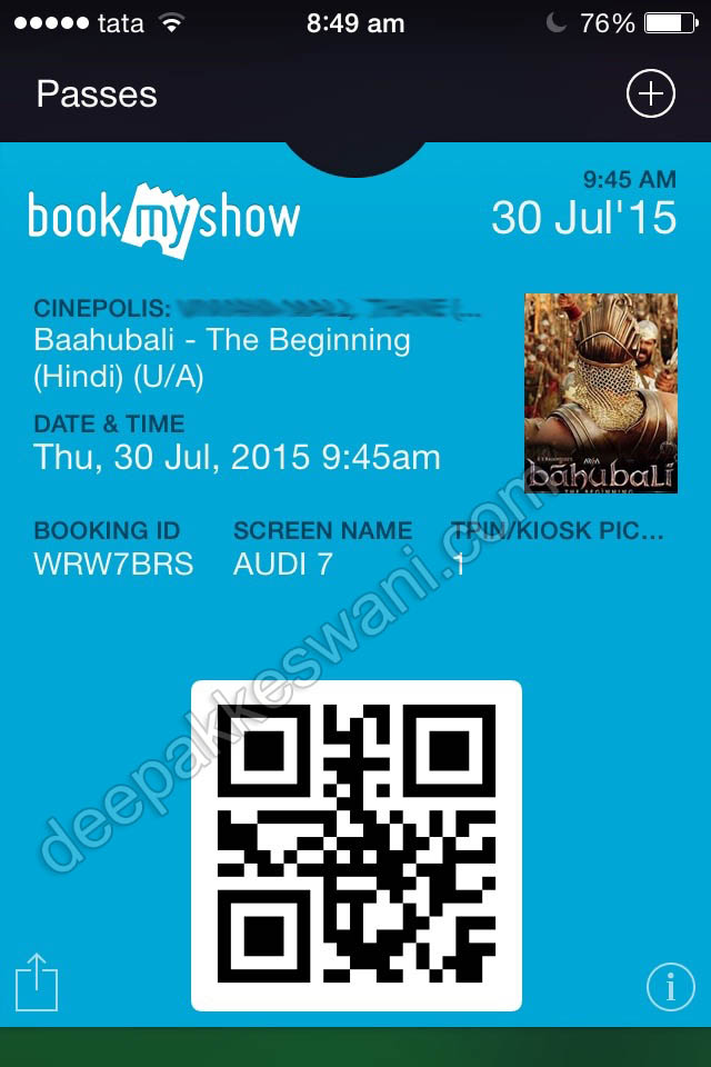 Apple passbook ticket for indian movie