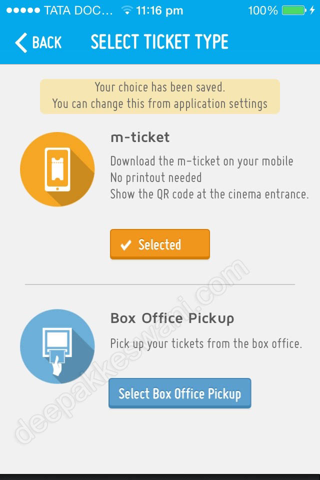 Bookmyshow m-ticket for paperless entry