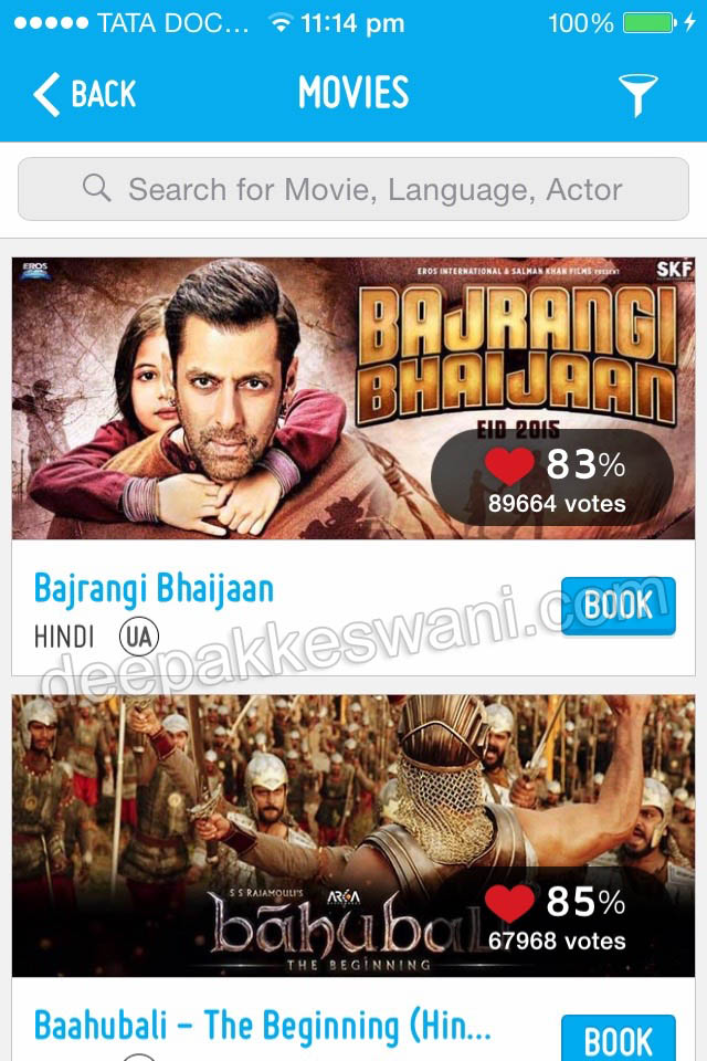 Bookmyshow app to book Movie Tickets