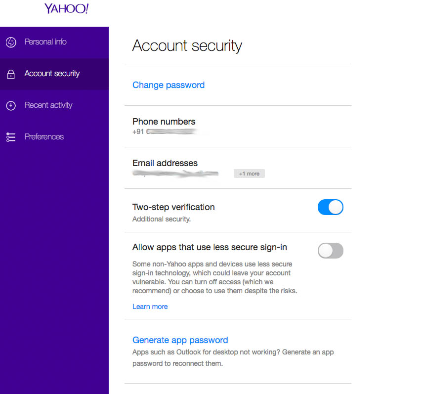 yahoo mail safety two step verification